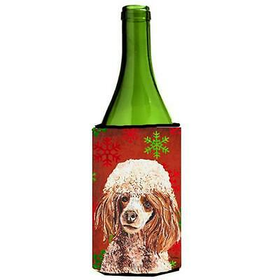 Red Miniature Poodle Red Snowflakes Holiday Wine bottle sleeve Hugger 24 Oz.