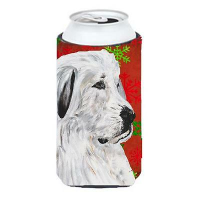 Great Pyrenees Red Snowflakes Holiday Tall Boy bottle sleeve Hugger 22 To 24 Oz.