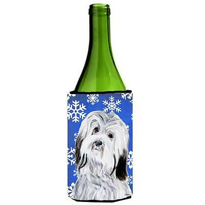 Carolines Treasures Havanese Winter Snowflakes Wine bottle sleeve Hugger 24 Oz. • AUD 48.26