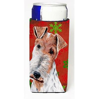 Wire Fox Terrier Red Snowflakes Holiday Michelob Ultra bottle sleeves Slim Ca...