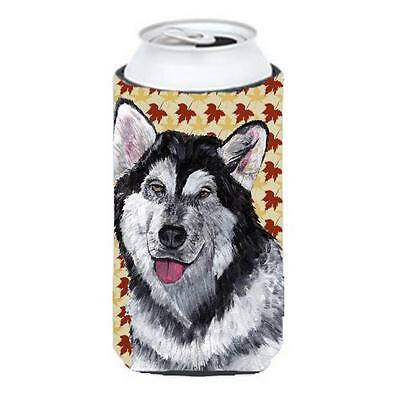 Alaskan Malamute Fall Leaves Tall Boy bottle sleeve Hugger 22 To 24 Oz.