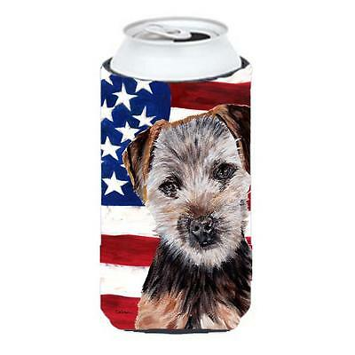 Norfolk Terrier Puppy With American Flag Usa Tall Boy bottle sleeve Hugger 22...