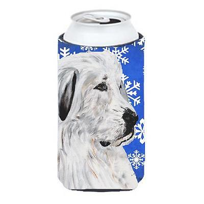 Great Pyrenees Winter Snowflakes Tall Boy bottle sleeve Hugger 22 To 24 Oz.