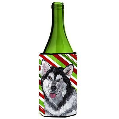 Alaskan Malamute Candy Cane Holiday Christmas Wine bottle sleeve Hugger 24 Oz.