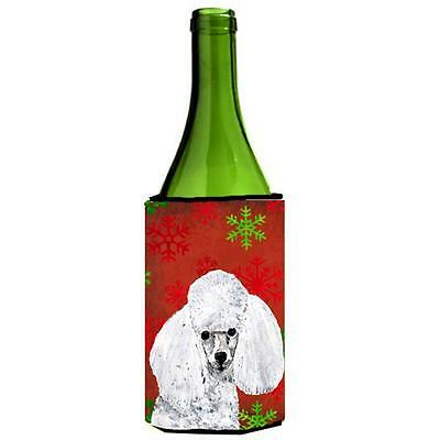 White Toy Poodle Red Snowflakes Holiday Wine bottle sleeve Hugger 24 Oz.