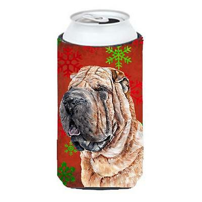Shar Pei Red Snowflakes Holiday Tall Boy bottle sleeve Hugger 22 To 24 Oz.