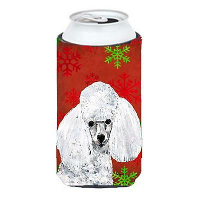 White Toy Poodle Red Snowflakes Holiday Tall Boy bottle sleeve Hugger 22 To 2...