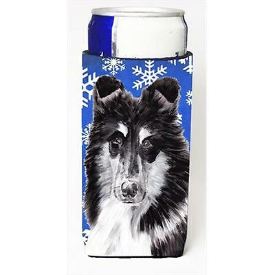 Black And White Collie Winter Snowflakes Michelob Ultra bottle sleeves Slim C...