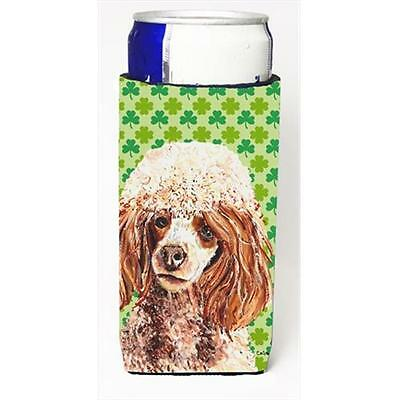 Red Miniature Poodle Lucky Shamrock St. Patricks Day Michelob Ultra bottle sl...