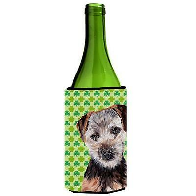 Norfolk Terrier Puppy Lucky Shamrock St. Patricks Day Wine bottle sleeve Hugg...
