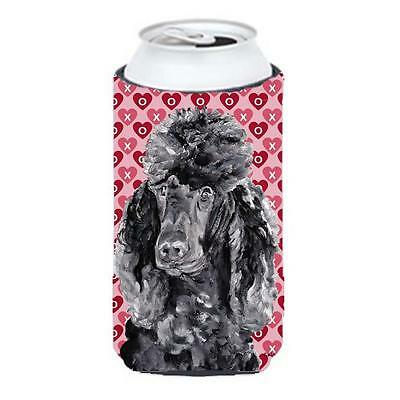 Black Standard Poodle Hearts And Love Tall Boy bottle sleeve Hugger 22 To 24 Oz.