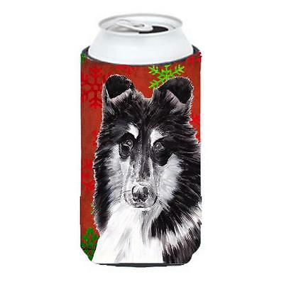 Black And White Collie Red Snowflakes Holiday Tall Boy bottle sleeve Hugger 2...