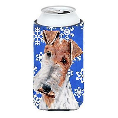 Wire Fox Terrier Winter Snowflakes Tall Boy bottle sleeve Hugger 22 To 24 Oz.