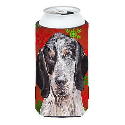 Blue Tick Coonhound Red Snowflakes Holiday Tall Boy bottle sleeve Hugger 22 T...