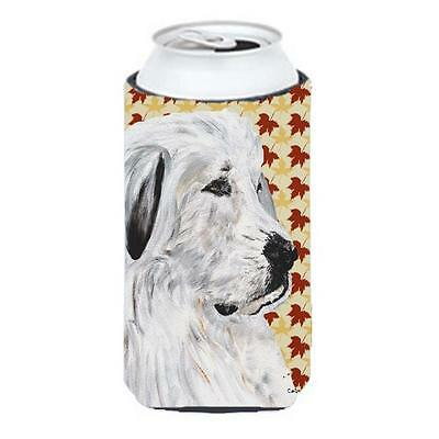 Great Pyrenees Fall Leaves Tall Boy bottle sleeve Hugger 22 To 24 Oz.