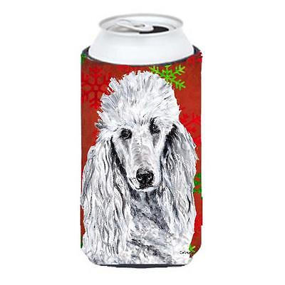 White Standard Poodle Red Snowflakes Holiday Tall Boy bottle sleeve Hugger 22...