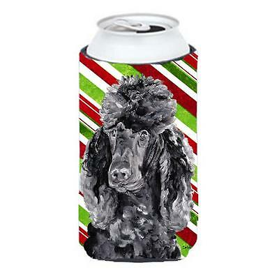 Black Standard Poodle Candy Cane Christmas Tall Boy bottle sleeve Hugger 22 T...