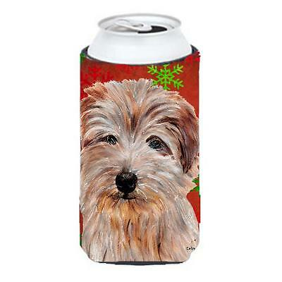 Norfolk Terrier Red Snowflakes Holiday Tall Boy bottle sleeve Hugger 22 To 24...