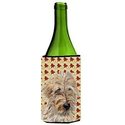 Carolines Treasures Golden Doodle 2 Fall Leaves Wine bottle sleeve Hugger 24 Oz.