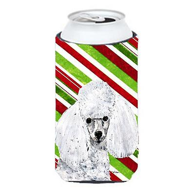 White Toy Poodle Candy Cane Christmas Tall Boy bottle sleeve Hugger 22 To 24 Oz.