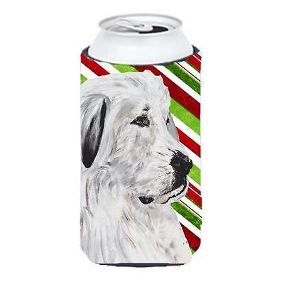 Great Pyrenees Candy Cane Christmas Tall Boy bottle sleeve Hugger 22 To 24 Oz.