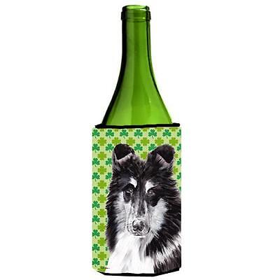 Black And White Collie Lucky Shamrock St. Patricks Day Wine bottle sleeve Hug...