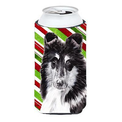 Black And White Collie Candy Cane Christmas Tall Boy bottle sleeve Hugger 22 ...
