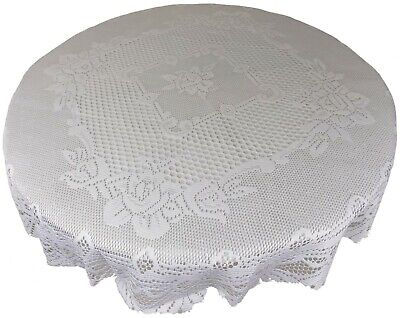 "White Heavy Lace Rose Scalloped Stain Release 60"" - 150Cm Round Table Cloth"