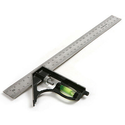 Stainless Steel 300mm Combination Square Rule Machinist Tool w/ Lock Ruler Angle