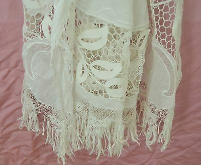 Fabulous Edwardian Lace And Embroidered Bed Cover With 'C' Monogram Rr429