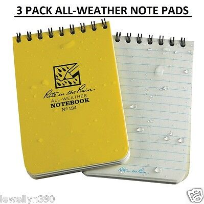 "3 PACK NEW! Rite in the Rain Pocket Notebook 3"" x 4.5"" All-Weather Writing"