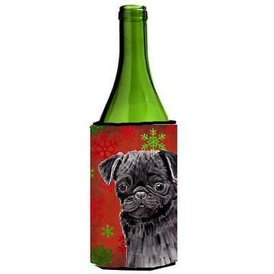 Pug Red And Green Snowflakes Holiday Christmas Wine bottle sleeve Hugger