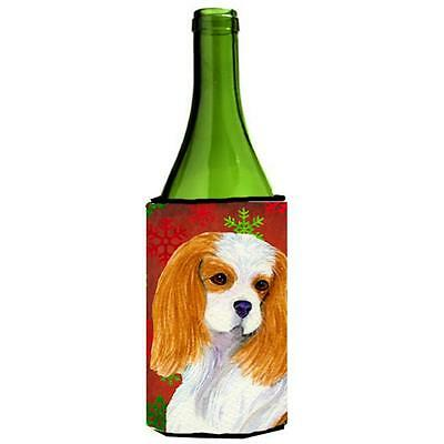 Cavalier Spaniel Red And Green Snowflakes Holiday Christmas Wine bottle sleev...