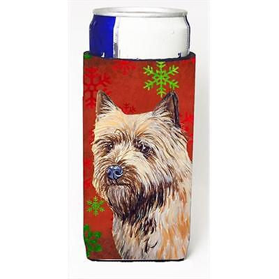 Cairn Terrier Red And Green Snowflakes Holiday Christmas Michelob Ultra bottl...