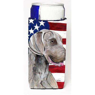 Usa American Flag With Weimaraner Michelob Ultra bottle sleeves For Slim Cans...