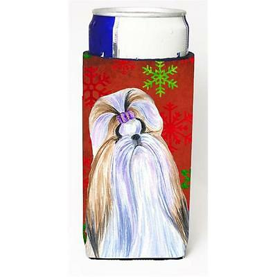 Shih Tzu Red And Green Snowflakes Holiday Christmas Michelob Ultra bottle sle...