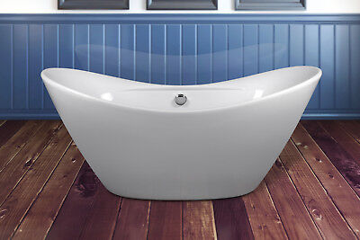 "67"" Glossy White Acrylic Freestanding Soaking Luxury Spa Bath Tub"
