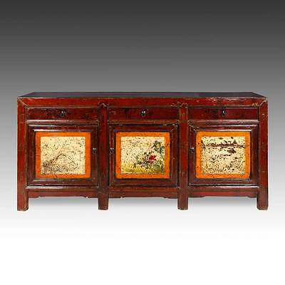 Fine Antique Chinese Gansu Painted And Lacquered Cabinet Or Sideboard 19Th C