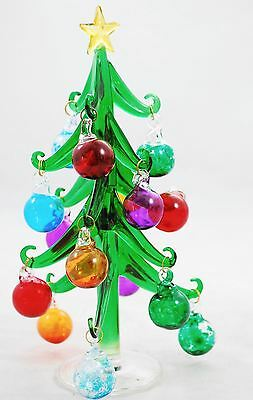 Hand Blown Glass - Christmas Tree With Glass Ball Ornaments - Italy