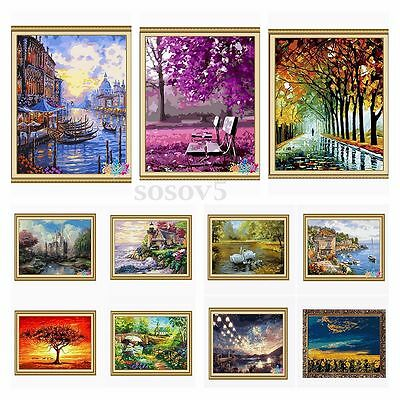 New DIY Paint By Number 16''*20'' Kit Forest Painting On Canvas Home Ornament