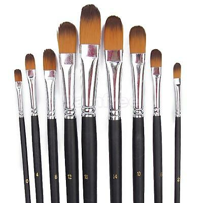 Set 9 Size Filbert Style Painting Brushes for Acrylic Oil Watercolor Gouache