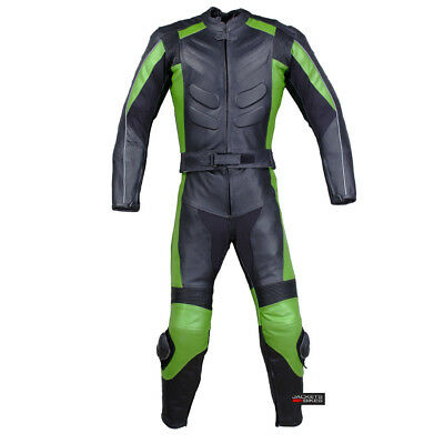 New Men's 2PC Motorcycle Leather Racing Armor Suit 2 PC Two Piece Green US