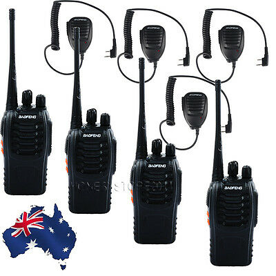 4x Baofeng BF888S UHF 400-470 CTCSS Ham Radio Walkie Talkies + Handheld Speaker