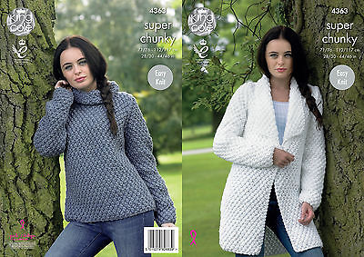King Cole 4363 Knitting Pattern Jacket and Sweater in Big Value Super Chunky