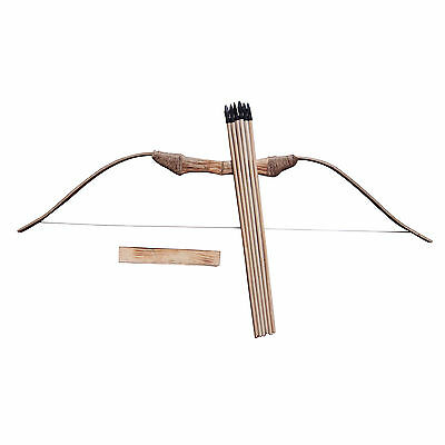 Wooden Bow 6 Arrows + A Quiver Longbow Kids Teenage Archery Hunting Sporting Toy