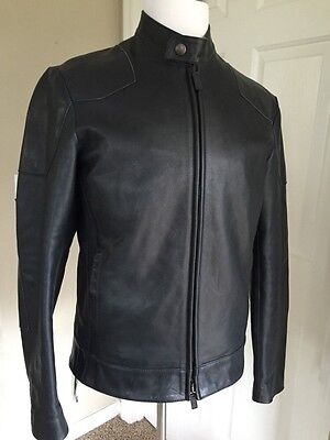 Giorgio Armani Mens Leather Jacket Black-Blue 40 US ( 50 Eur ) NWT $3495 Italy
