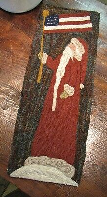 "Primitive Hooked Rug Pattern On Monks ""Santa 2014"""