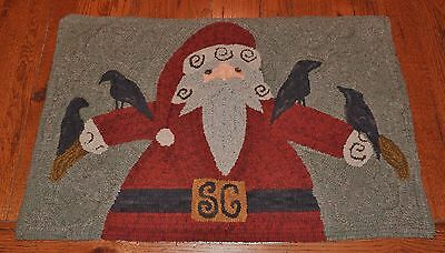 "Primitive Hooked Rug Pattern On Monks ""Santa 2015"""