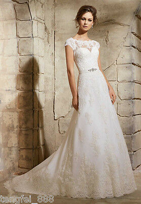 New White/Ivory Lace Wedding Dress Bridal Gown Custom Size 6 8 10 12 14 16 18+