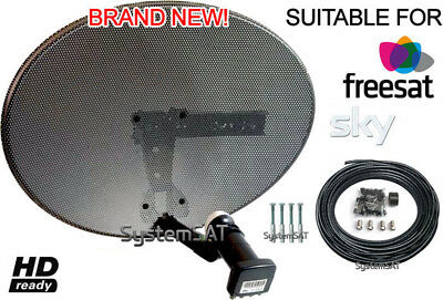Zone 1 43cm Sky Dish Kit with MK4 Quad LNB and 20m Twin HD Cable+ Fitting